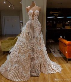 Splendid Evening Dress With Detachable Train Sweetheart Major Beading Feather Appliqued Sequins Formal Party Gowns Custom Made Prom Dresses From Freesuit, $30.99 | DHgate.Com Glamorous Evening Dresses, Cheap Evening Dresses, Prom Dresses, Formal Dresses, Wedding Dresses, Custom Made Prom Dress, Dinner Outfits, Curvy Outfits, Party Gowns