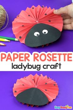 Paper Rosette Ladybug Craft for Kids. Learning about ladybugs is fun, but making your own Paper Rosette Ladybug Craft is even more amazing! Check out this tutorial. Book Crafts, Crafts To Do, Easy Crafts, Spring Crafts For Kids, Craft Projects For Kids, Craft Ideas, Ladybug Crafts, Holiday Club, Paper Rosettes