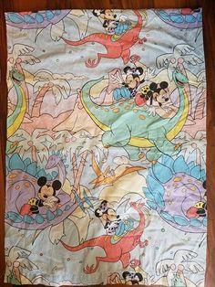 71fb7405 Vintage Twin Flat Sheet Disney Prehistoric Mickey Minnie Mouse, 90s Kid,  Bedding, Fabric, Bed Spread, Dinosaur, Walt Disney