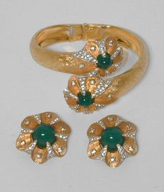 Jomaz Vintage Jade Glass Cabochon Rhinestone Flower Clamper Bracelet Earrings | eBay Sold for $ 89