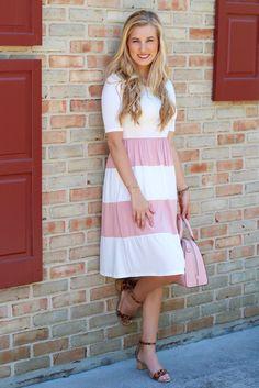 Hazel Ivory and Blush Colorblock Midi Dress www.piperstreetshop.com