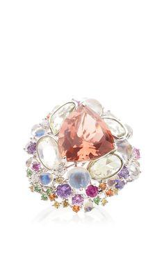 Waltz Tourmaline, Pebble Green Sapphire And Moonstone Ring by ANNA HU HAUTE JOAILLERIE for Preorder on Moda Operandi