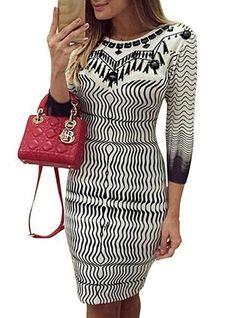 Knee Length Sheath Dress - Black on White Print / Three Quarter Length Sleeves / Striped