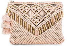 Trendy Women's Bags : Picture Description Sevigny Clutch by Cleobella. Woven cotton exterior with cotton fabric lining. Zip top closure with fringed tassel accented pull. Macrame Purse, Tassel Purse, Pink Clutch, Macrame Design, Pink Handbags, Macrame Projects, Diy Décoration, Macrame Patterns, Beautiful Bags