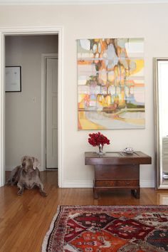 From designsponge. Love the painting and the table (an antique hibachi from Japan!), and of course, the dog.