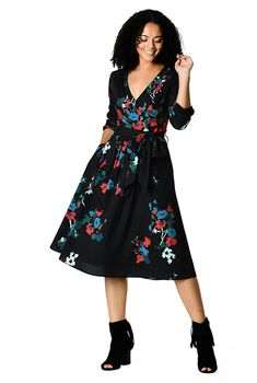I  lt 3 this Pleated floral print crepe midi dress from eShakti Mature  Women Fashion 12a585832