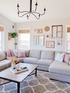 Have you been looking for interior paint color inspiration? Click the link to see the best white, black and gray paint colors for farmhouse and boho decor! As well as other colors I have throughout my home! #gallerywall #antiques #thrifting #antiquewindows #reposegray #alabaster #livingroominspo #homedecor Cute Living Room, Rugs In Living Room, Living Room Furniture, Living Room Designs, Living Room Decor, Room Rugs, Small Living, Modern Living, Living Room Inspiration