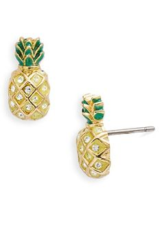 Juicy Couture 'Creatures of Paradise' Pineapple Stud Earrings Pineapple One Size Cute Jewelry, Jewelry Box, Jewelry Accessories, Fashion Accessories, Jewlery, Gold Jewellery, Jewelry Ideas, Pineapple Jewelry, Pineapple Earrings