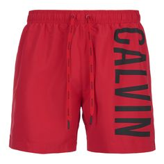 Calvin Klein Men's CK One Logo Intense Power Swim Shorts - Chinese Red ($48) ❤ liked on Polyvore featuring men's fashion, men's clothing, men's swimwear, red, mens swim trunks, mens clothing, men's apparel, mens swimwear and mens swimshorts