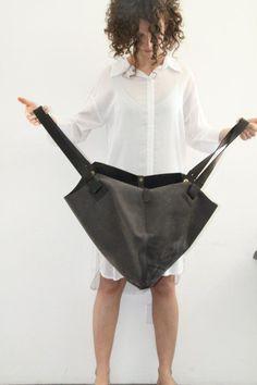 Dark Grey Leather Tote Bag Soft Leather Bag Big by LadyBirdesign