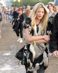 a feathery festival look - Kate Moss