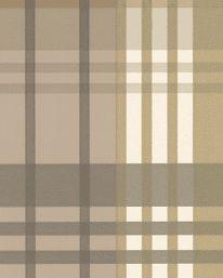 Tapet   Namn: Modern Tartan Charcoal/Gold  Tillverkare: Mulberry  Tryckår: Nyproduktion  Storlek: 10.05 X 0.52 m  Bakgrundsfärg: Beige  Övriga färger: Grå, Guld