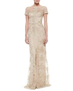 T81UY David Meister Short-Sleeve Lace Overlay Gown