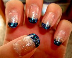 silver shimmery nails | CrystaLs NaiL DesignS: NAVY BLUE TIPS with SILVER & BLUE GLITTER