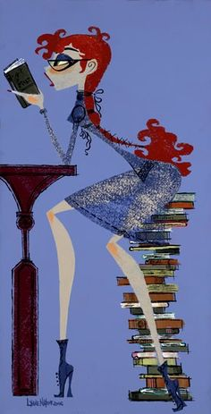 girl reading by Lynne Naylor I Love Books, Books To Read, My Books, Reading Art, Woman Reading, Reading Nooks, Lectures, Book Girl, Book Nooks