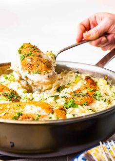 Skillet Chicken with Cheesy Orzo and Zucchini, oh my! Zucchini gives this weeknight meal some veggie love, and the best part? The whole thing cooks in one skillet, minimizing the mess.  #pasta #cheesy #skillet #onepotmeal #simplyrecipes #chicken