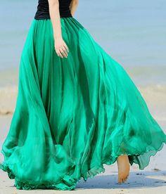 Modest maxi skirt vibrant green | Mode-sty