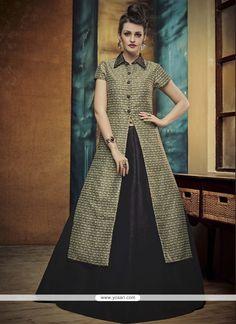 Opulent Banglori Silk Black A Line Lehenga Choli Model: YOLEN3254