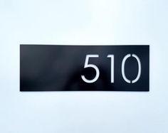 4 Modern House Numbers Black Metal Composite Stud Mounted