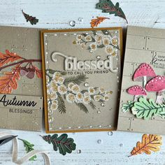 Gathered Blessings – A Bounty of New Blooms & BotaniCuts! – The Greetery Blog Thanksgiving Cards, Christmas Cards, Diy And Crafts, Paper Crafts, Pretty Fonts, Cards For Friends, Watercolor Paper, Card Stock, Stencils