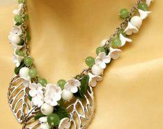 Spring necklace Flower jewelry Cosmos Sakura Handmade
