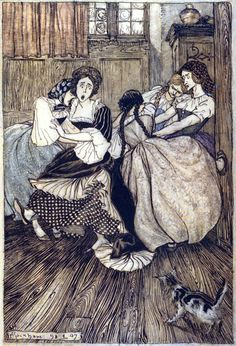 """And the maids cried """"Good gracious, how very tenacious! """" Arthur Rackham, from The Ingoldsby legends, by Thomas Ingoldsby (Richard H. Barham), London, New York, 1907. (Source: archive.org.)"""