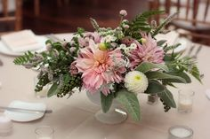 September centerpiece with dahlias