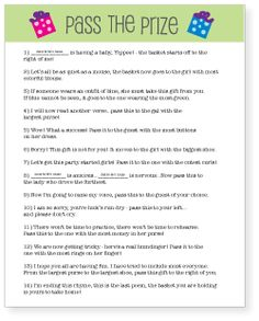 Pass The Prize Baby Shower Game: Name your price (pay what you want.) Printable baby shower game idea - this game will have guests rolling on the floor! Baby Shower Game Gifts, Easy Baby Shower Games, Baby Shower Fun, Baby Shower Gender Reveal, Shower Party, Baby Shower Parties, Baby Shower Themes, Baby Boy Shower, Baby Gifts