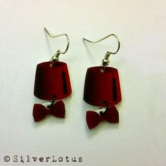 Dr Who Fez and Bow Tie earrings Geeky Jewelry by SilverLotus