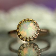 Rose Cut Opal Engagement Ring In 14K Rose Gold  by louisagallery