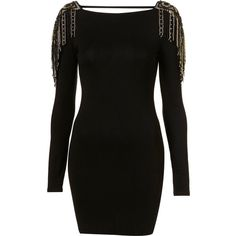 Gold Fringe Dress By Dress Up Topshop** ($120) ❤ liked on Polyvore