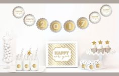 Gold & Glitter New Years Party Decor Kit. Ring in the New Year with a little glitz and glam with our Gold & Glitter New Years Eve Decor Kit. Each Kit includes Metallic Foil and Glittery items such as banners, stickers and cupcake toppers for dressing up your dessert and candy buffet table. Kit Includes: 1 Metallic Foil Scallop Banner with 2015 & Happy New Year 1 Metallic Silver Table Sign printed with &quotHappy New Year&quot 25 Silver Striped Straws 24 Silver Foil...