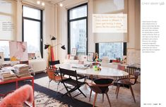 Jenna Lyons' office::mismatched chairs and Saarien table::November 2012 - Lonny Magazine - Lonny