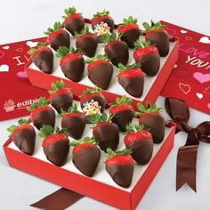 Our Full of Love Berries gift set is a timeless classic for Valentine's Day! Featuring fresh strawberries hand-dipped in decadent gourmet semisweet chocolate and packaged to perfection in a beautiful box, this treat is exactly what you need to send your love!