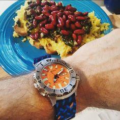 Seiko Orange Monster with Ocean Chevron  Photo by @abtw_patrick Seiko Monster, Watch Straps, Seiko Watches, Chevron, Ocean, Orange, Watches, Amazing, Watch Bands