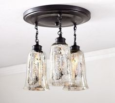 Brantley Antique Mercury Glass Semi-Flushmount - contemporary - ceiling lighting - Pottery Barn