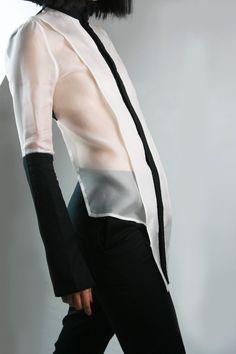 White Silk Organza with Black Cotton top.  Luba GnaSevych