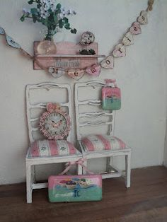 An adorable miniature Shabby chic scene from Peggy in the Netherlands