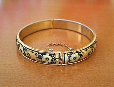 Bracelet-Damascene-or-jonc-rond-rigide-fleurs-oiseaux-Tolede-vintage-annees-60