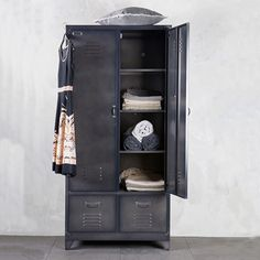 Metal Locker Style Wardrobe in Black by BePureHome