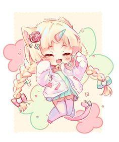 [+Video] Commission - Unicat by Hyanna-Natsu. on - [+Video] Commission – Unicat by Hyanna-Natsu.devi… on - Dibujos Anime Chibi, Cute Anime Chibi, Kawaii Chibi, Anime Neko, Kawaii Art, Manga Cute, Kawaii Room, Anime Naruto, Chibi Girl Drawings