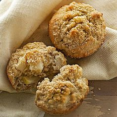 Break up your blueberry muffin routine with this ginger-pear muffin recipe. Ready in under an hour, these muffins include rolled oats, brown sugar, ground ginger, milk, an egg, chopped pears and chopped walnuts. This warm breakfast treat pairs perfectly with a cup of coffee.