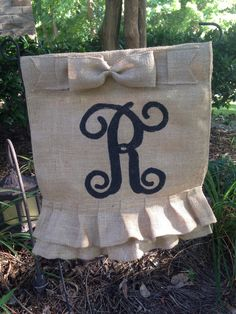 A personal favorite from my Etsy shop https://www.etsy.com/listing/386031870/ruffled-burlap-garden-flags