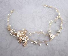 Gold Boho Hair Crown, Halo Hair Wrap, Silver Hair Wreath, Silver forehead band, Wedding Flower Hair Vine, Boho Wedding Headpiece - 'EVE'