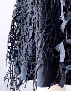 Laser cut wool - innovative 3D printed textiles; fashion design detail; fabric manipulation; organic pattern & texture // Francis Bitonti