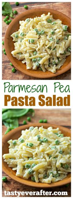 Parmesan Pea Pasta Salad - pretty much the EASIEST pasta salad recipe in the world. Takes just 15 minutes to make and contains only 4 ingredients! : tastyeverafter