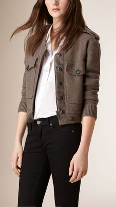 Shop for Wool Cashmere Bomber Jacket by Burberry at ShopStyle. Knit Jacket, Blazer Jacket, Leather Jacket, Classy Work Outfits, Casual Outfits, Jacket Images, Look Blazer, Cashmere Jacket, Blazer Outfits