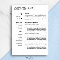 Professional Resume Template Easily Editable In Word Or Pages