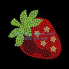 Strawberry Rhinestone Heat Transfers For Garment Accessories