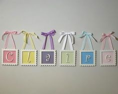 Made with small picture frames also could use chalkboard paper to write letters on!